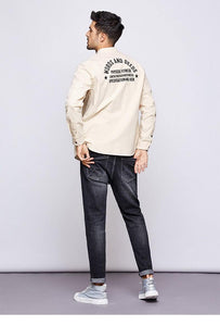 Autumn 100% Cotton Embroidery Shirt Men Dress Button Casual Slim Fit Long Sleeve For Male Fashion Brand Blouse