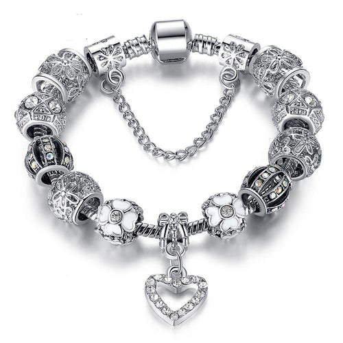 Romantic Silver Heart Charm Bracelet & Bangle With Safety Chain Crystal Glass Beads
