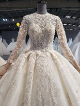 Load image into Gallery viewer, bridal vintage wedding dresses long train high neck full sleeve ball gown appliques boho dress vestido de noiva barato