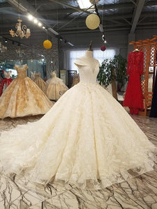 big puffy skirt ball wedding dress o neck cap sleeves 3d flowers dress for wedding