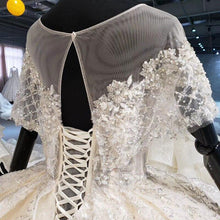 Load image into Gallery viewer, sparkly wedding dress illusion o-neck bead small cape lace wedding gown plus size lace up back vestido de casamento