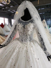 Load image into Gallery viewer, like white luxury wedding gowns in women's dresses o-neck sequin lace long wedding dress with veil vestido de noiva