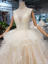Load image into Gallery viewer, Open back sleeveless Wedding Dress with wedding veil tassel backless  v-neck shiny bridal dress wedding gown with peplum
