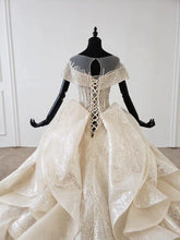 Load image into Gallery viewer, shiny wedding dress capped sleeve o-neck lace up corset bridal gowns ruffle train ins hot sale sparkly vestidos novia