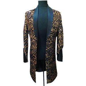 Leopard Long Jacket Men Singer DJ Nightclub Jlogn Blazer Men With Black Collar Men Fancy Long Blazer Men Suit Jacket Plus 5xl