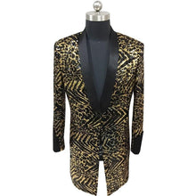Load image into Gallery viewer, Leopard Long Jacket Men Singer DJ Nightclub Jlogn Blazer Men With Black Collar Men Fancy Long Blazer Men Suit Jacket Plus 5xl