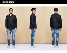 Load image into Gallery viewer, Autumn Cotton Letter Denim Shirt Men Dress Button Casual Slim Fit Long Sleeve For Male Brand Blouse