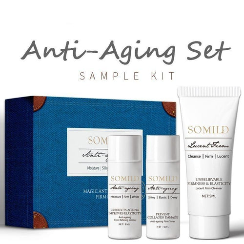 Anti-aging Skin Care Set Travel Suit Vitamin E Face Lotion Age Defense Cream Deep Clean Facial Cleanser Korean Essence