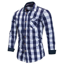 Load image into Gallery viewer, Men 100% Cotton Plaid Shirt Long Sleeve Slim Fit Dress Shirts Casual Fashion Business Social Shirt