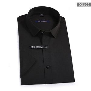 Summer Non-Iron Short Sleeve men dress shirt Elastic slim fit black button anti-wrinkle white blue social shirt male pockeless