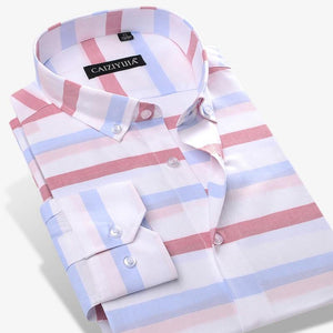 Men's Color Block Striped Dress Shirt Comfortable Cotton Long-Sleeve Casual Standard-fit Button Down Shirts