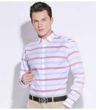 Load image into Gallery viewer, Men's Color Block Striped Dress Shirt Comfortable Cotton Long-Sleeve Casual Standard-fit Button Down Shirts