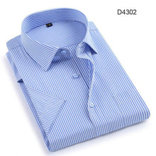 Load image into Gallery viewer, Summer short sleeve turndown collar easy care non-iron regular fit striped / Plaid business men casual shirts