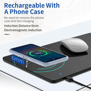 Phone Wireless Charger Mouse Pad Fast Charging Mat PU Leather Computer Mousepad For iPhone 11 Pro X Samsung S10 Huawei