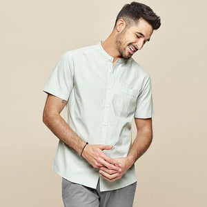 Men's short sleeve shirt Summer Stand collar men's fashion leisure cotton New style - moonaro