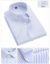 Load image into Gallery viewer, Summer men's striped short sleeve dress shirt square collar non-iron regular fit anti-wrinkle  pocket  male social shirt