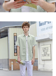 Short sleeve shirt men summer fun printed casual man shirt comfortable cotton inside