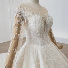 Load image into Gallery viewer, Wedding Dress Whole With Luxury flower Applique Bridal Dress Long Sleeve Wedding Dress Lace Up Robe De Mariée Princesse