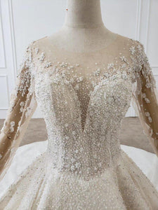 Wedding Dress Whole With Luxury flower Applique Bridal Dress Long Sleeve Wedding Dress Lace Up Robe De Mariée Princesse