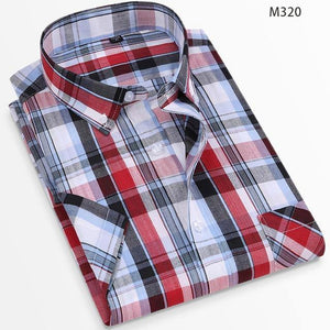 Summer 100% Cotton Breathable Short Sleeve Men's Checkered Shirt  Slim Fit Casual Cool Male Plaid Shirts Many Colors