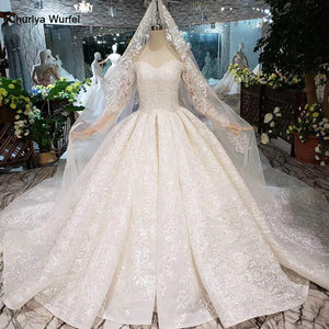 Sweetheart lace wedding dresses with long sleeve handmade flowers appliques princess wedding gown new fashion design