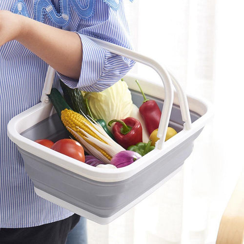 Sink Storage Basket Home Fruit Foldable Collapsible Tub Colander With Handle Vegetable Washing Shopping Container Portable