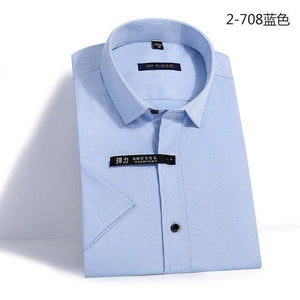 Summer Non-Iron Short Sleeve men dress shirt Elastic slim fit black button anti-wrinkle white blue social shirt male pockeless - moonaro