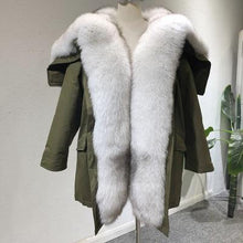 Load image into Gallery viewer, Winter Jacket Women Real Fur Coat Parka Natural big Fox Fur Collar Hooded white duck down jacket warm army green