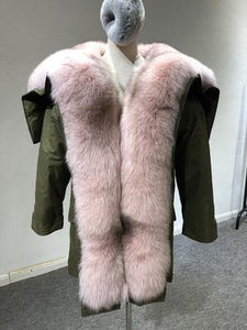 Winter Jacket Women Real Fur Coat Parka Natural big Fox Fur Collar Hooded white duck down jacket warm army green