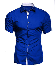 Men's Casual Fashion Short Sleeved Shirt White Blue Black Male Office Slim Fit Shirt For Men Social Shirts 4XL