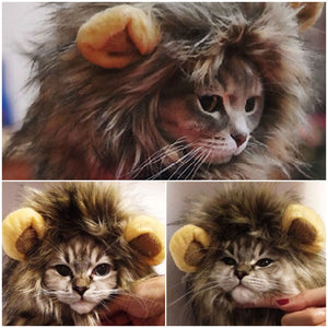 Halloween Costumes For Cats Furry Pet Hat Costume Lion Mane Wig Cat Pets Halloween Fancy Dress Up With Ears Party - moonaro