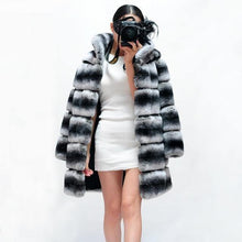Load image into Gallery viewer, Winter Jacket Women Real Fur Coat Natural Rex Rabbit Fur Thick Warm Streetwear Casual Striped Stand Collar Luxury - moonaro