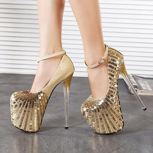 Sequin Super Thin High Heels Women Sexy Party Wedding Platform Dress Shoes Woman 19cm High Heel Pumps