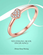 Load image into Gallery viewer, Simple 925 Sterling Silver Finger Rings Pave Cubic Zirconia Lovers Rose Gold Color Wedding Ring for Women Jewelry - moonaro