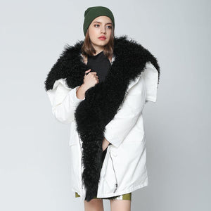 winter jacket women long parka outwear natural real Mongolia Sheep fur collar coat white loose duck down jacket