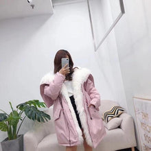 Load image into Gallery viewer, winter jacket women long parka outwear natural real Mongolia Sheep fur collar coat white loose duck down jacket