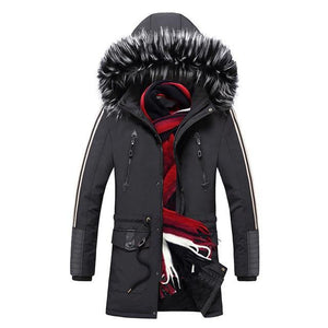 Winter Men's Jacket Parka Winter Long Thick Warm Coat Hooded Jacket Fur Collar Windproof Thicken Coat Overcoats