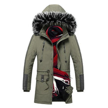 Load image into Gallery viewer, Winter Men's Jacket Parka Winter Long Thick Warm Coat Hooded Jacket Fur Collar Windproof Thicken Coat Overcoats