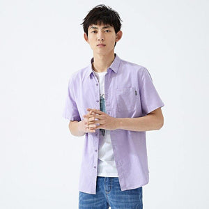 summer new short sleeve shirt men hit color letters lapel shirt trend casual clothes