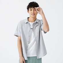 Load image into Gallery viewer, summer new short sleeve shirt men hit color letters lapel shirt trend casual clothes