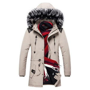 Winter Parka Long Men's Winter Jacket Thick Warm Coat Hooded Jacket Fur Collar Windproof Padded Coat