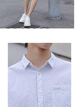 Load image into Gallery viewer, summer new stripe stretch short sleeve comfortable personality male cotton breathable