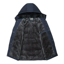Load image into Gallery viewer, Men's Parkas Winter Windproof Thick Jacket Men Casual Waterproof Hat Detachable Hooded Coat Warm Fleece Overcoat