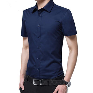 Men Short-Sleeved Shirt Slim Fit Summer Fashion Siold Color Dress Suits Male Boys business Shirt