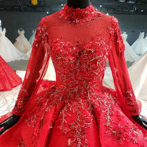 red wedding dresses ball gown appliques high neck long sleeve bridal dress wedding gown long train vestido noiva
