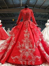 Load image into Gallery viewer, red wedding dresses ball gown appliques high neck long sleeve bridal dress wedding gown long train vestido noiva