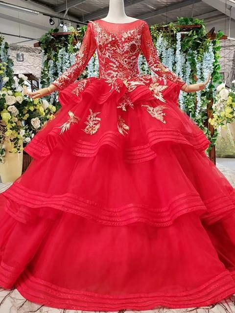 wedding dresses with long sleeves appliques o-neck red wedding gown with tail ball gown lace up back vestido festa