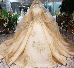 Champagne Wedding Dresses with wedding veil lantern sleeve v-neck lace up back bridal dress golden lace wedding gowns