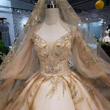 Load image into Gallery viewer, Champagne Wedding Dresses with wedding veil lantern sleeve v-neck lace up back bridal dress golden lace wedding gowns
