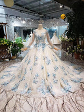 Load image into Gallery viewer, Color Wedding Dress ball gown tassel high-neck lace up back handmade flowers bridal gown with train bruidsjurken